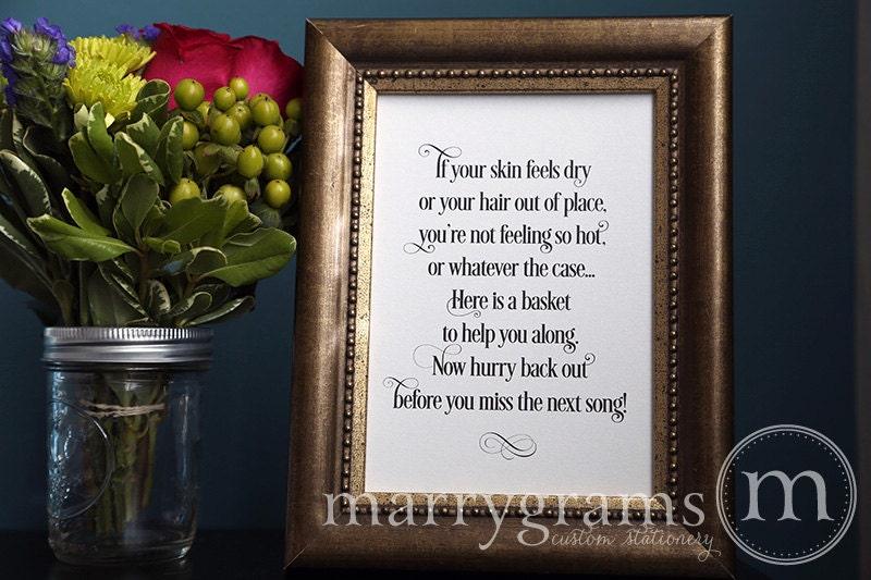 Wedding Bathroom Basket Sign Wedding Reception By Marrygrams