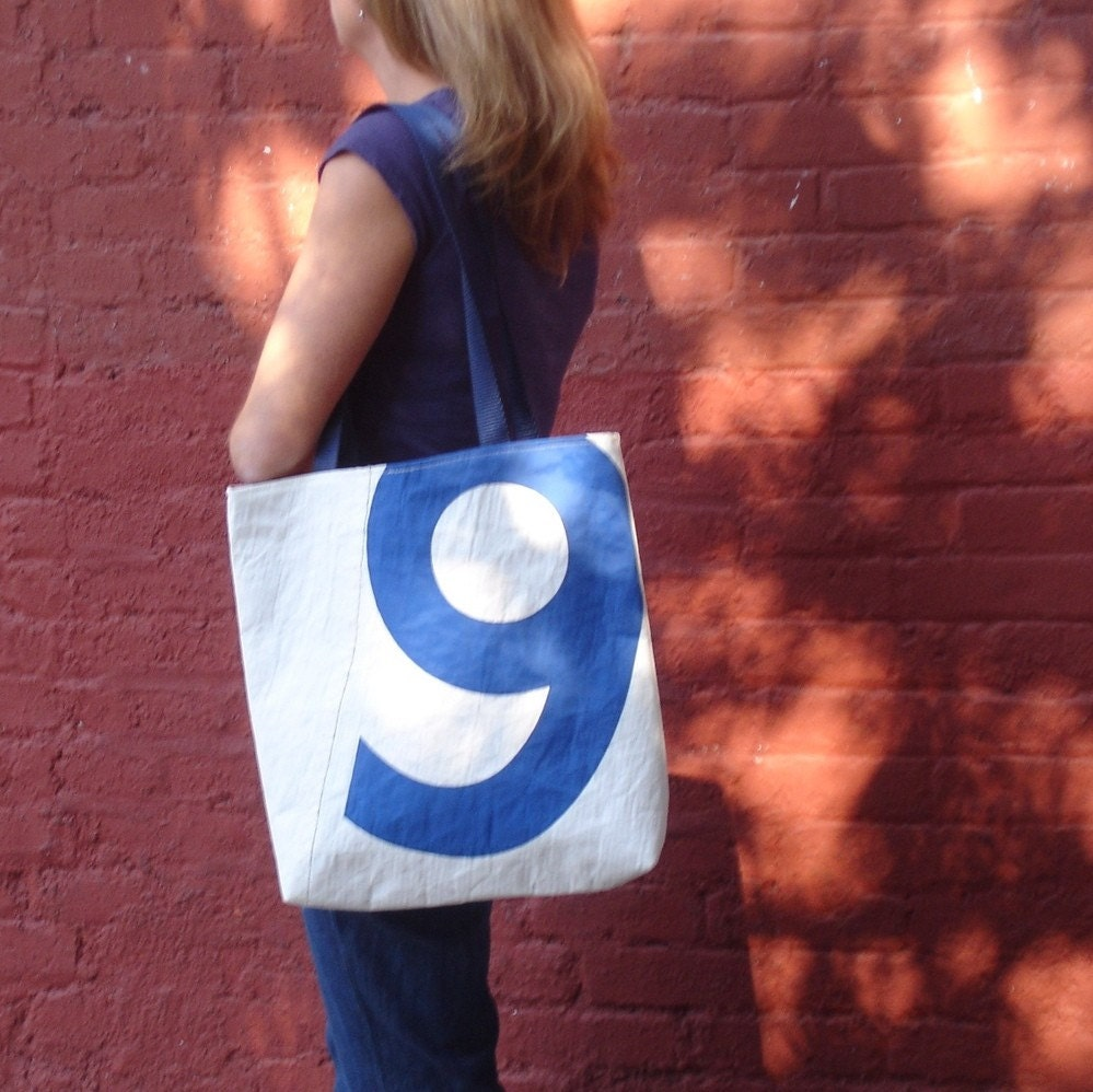 Reiter8 Blue 9 Recycled Sail Tote Bag - Textured