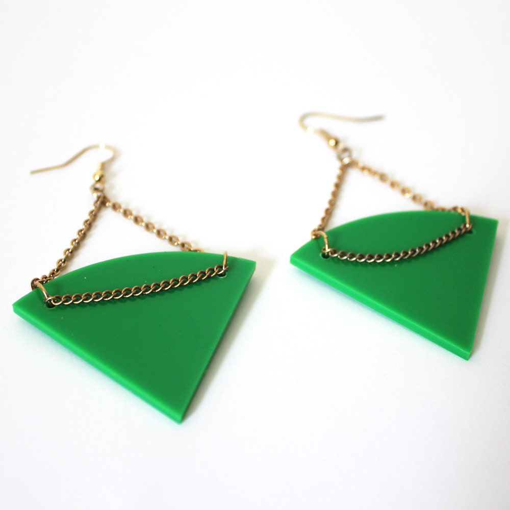 Green and Gold Tribal Earrings