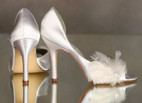 Wedding Shoes Embellished With Feathers And Crystals...Over 100 Colors To Choose From...The Dove