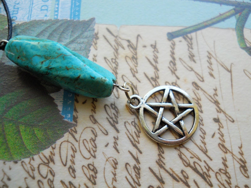 Turquoise Pentacle Necklace (Witchy, Pagan, Wiccan, Pentagram, Stone, Howlite)
