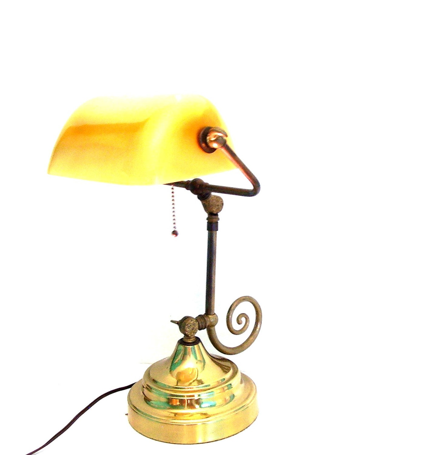 Vintage Brass Lamp Bankers Desk Table Lighting By