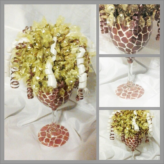 Rock Candy Filled Champagne Glasses: Hand Painted Wine Glass Candy Bouquet Edible By NovaMaries