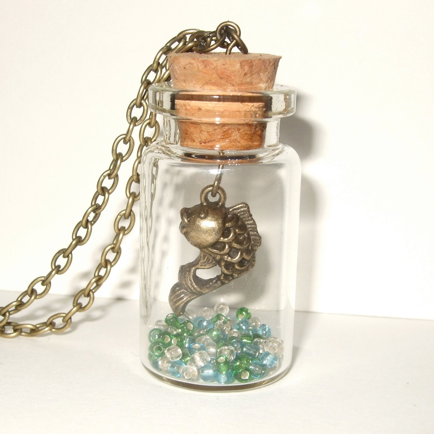 Koi Necklace Fish Jewelry Bottle Necklace Koi Fish Necklace Tattoo Style Koi Japanese Koi Jewelry Bottle Pendant Fish in a Bottle