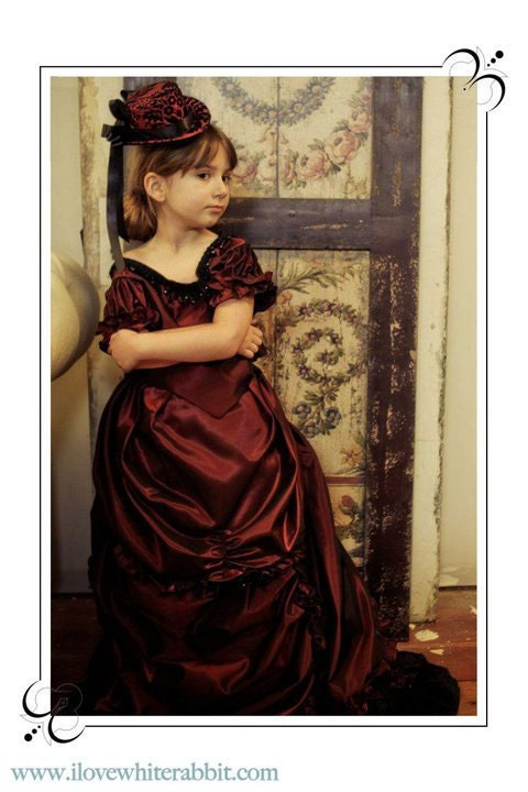 Burgundy Taffeta Girls Victorian Bustle Dress and Hat Set