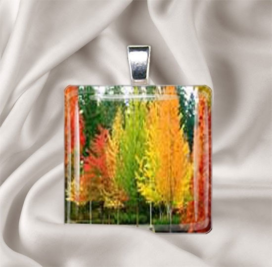 Fall Splendor Wood Tile Pendant