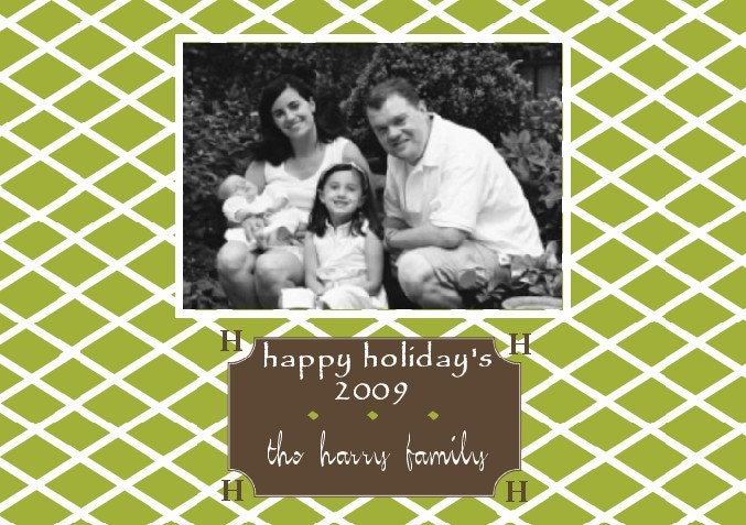 Lattice DOUBLE SIDED Preppy Custom Monogrammed Holiday Photo Greeting Cards