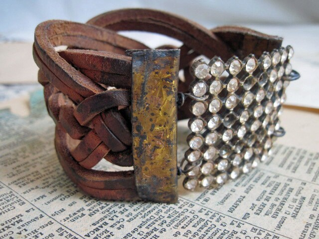 The Nine Worthies of Antiquity. Woven Leather Cuff with Vintage Rhinestone.