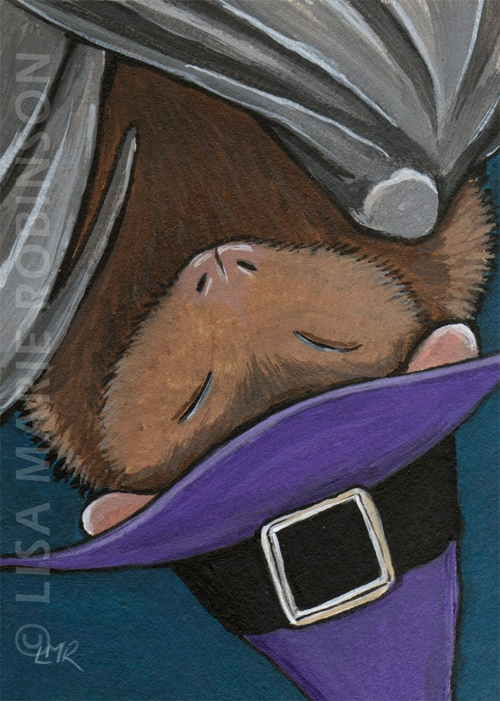 Original acrylic ACEO - Halloween Bat in Witches Hat - Cute ART