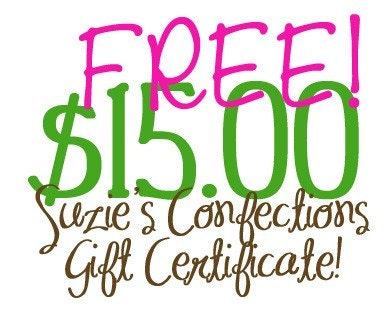FREE - 15.00 Dollar Suzie's Confections Gift Certificate - Sponsored by Step Mom Extraordinaire - Giveaway Ends 06/02/09