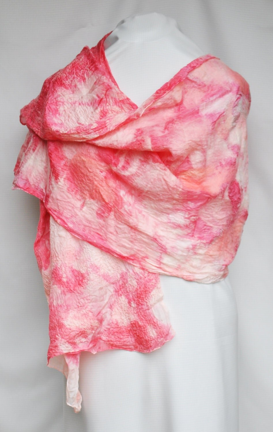 Hand dyed and felted wrap 'Red Delight'