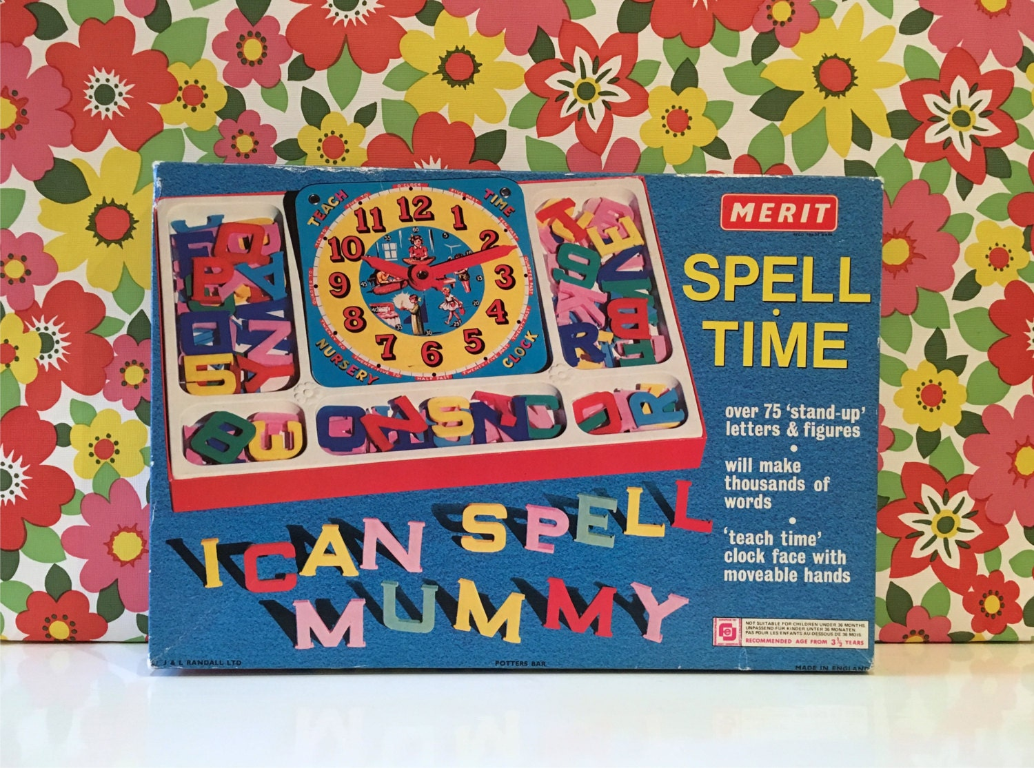 Vintage Merit Spell Time Game Plastic Letters Learn to Spell and Tell the Time