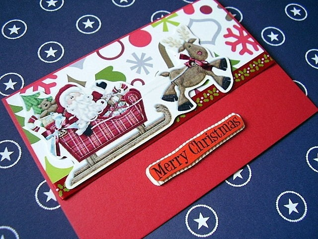 Christmas  Santa on his Sleigh set of 2 by uniquegrabs on Etsy
