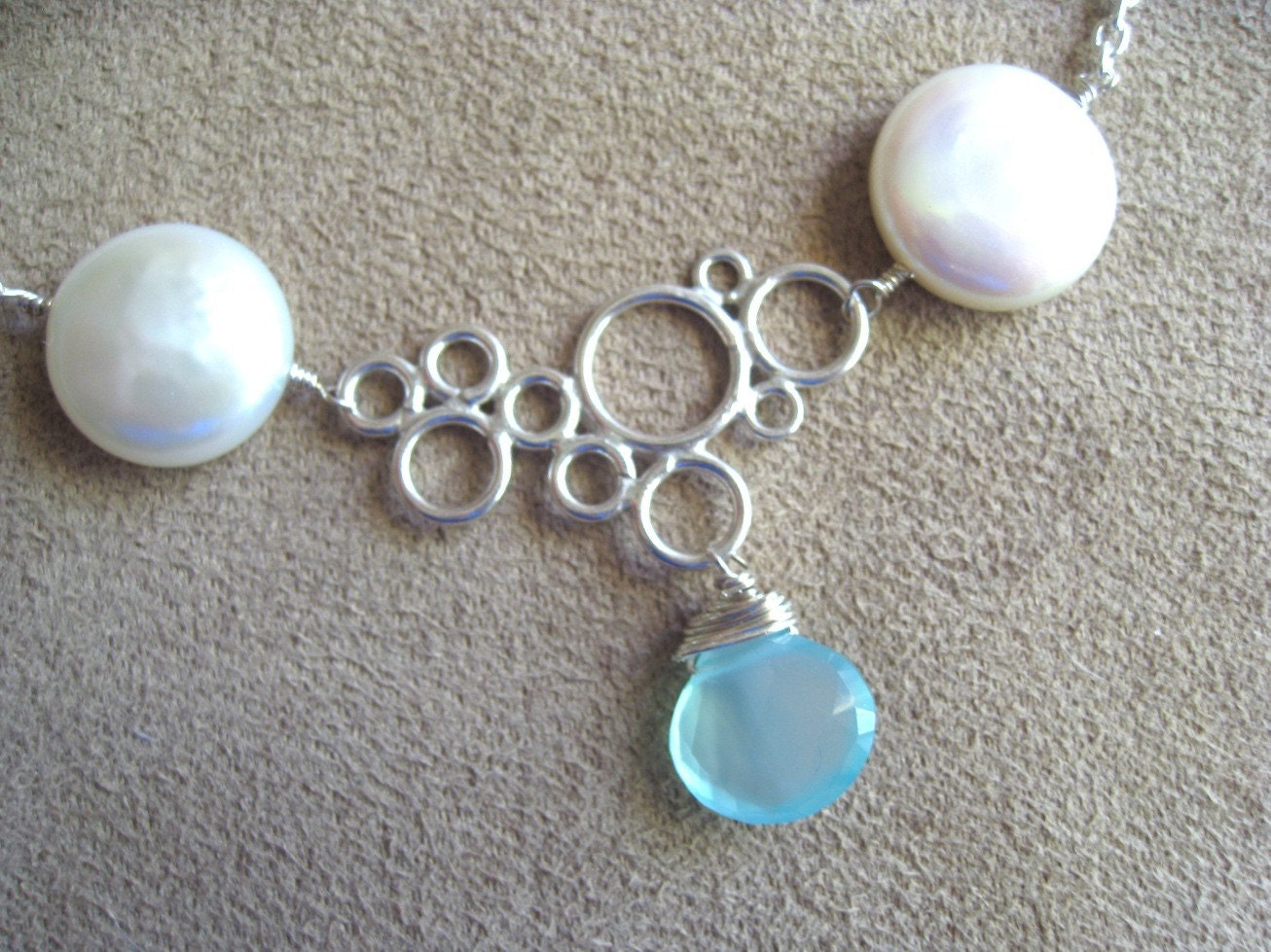 Pearl, Chalcedony and Sterling Necklace