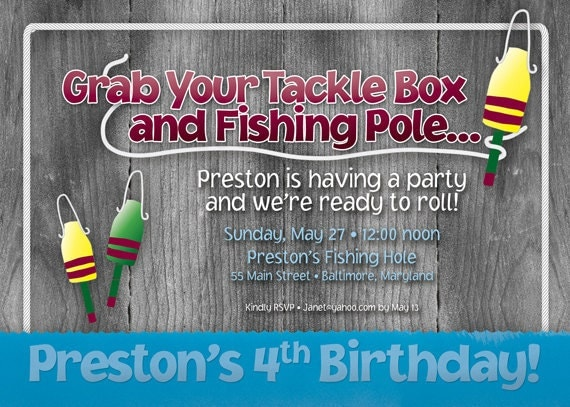 Fishing theme birthday party invitation by simplysocialdesigns for Fishing birthday party invitations