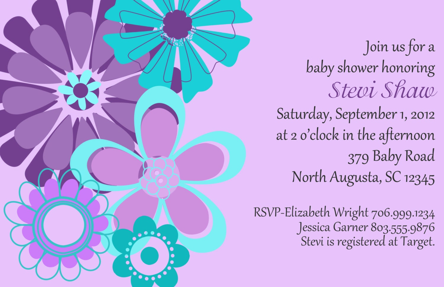 purple and teal flowers girl baby shower invitation set of 20 invites
