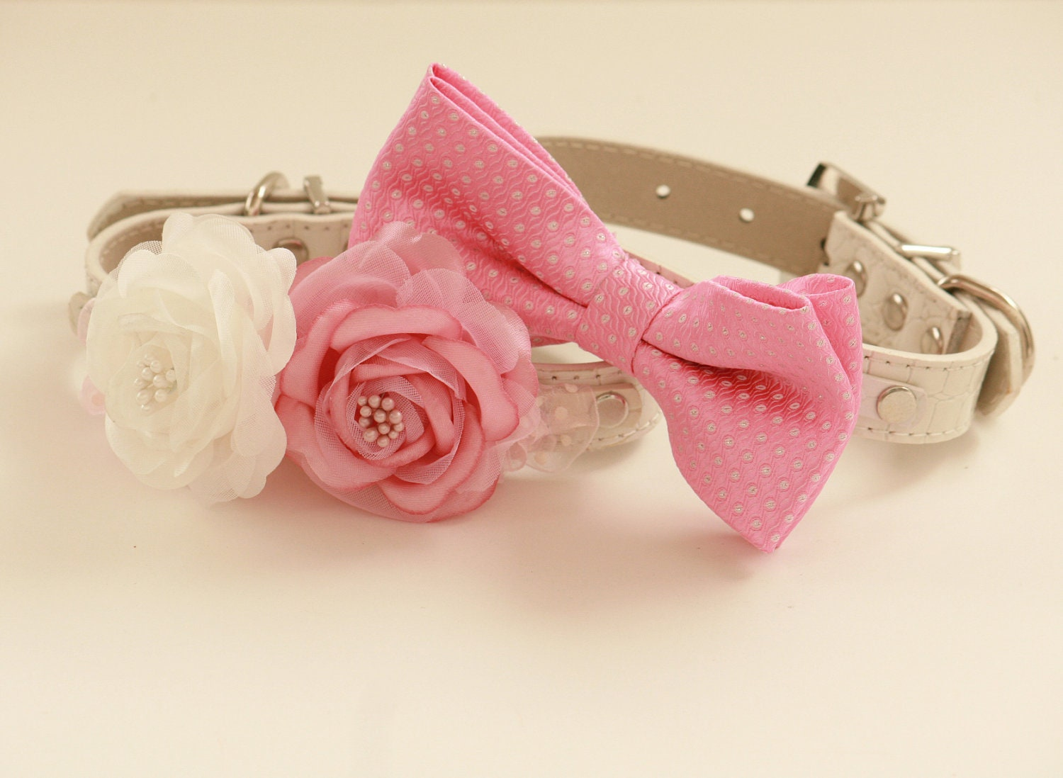 pink wedding dog collars two dog collars floral by ladogstore