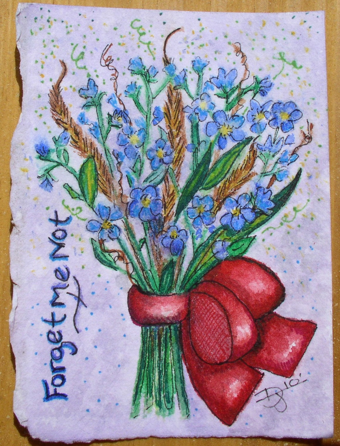 ACEO, mini painting, forget-me-nots