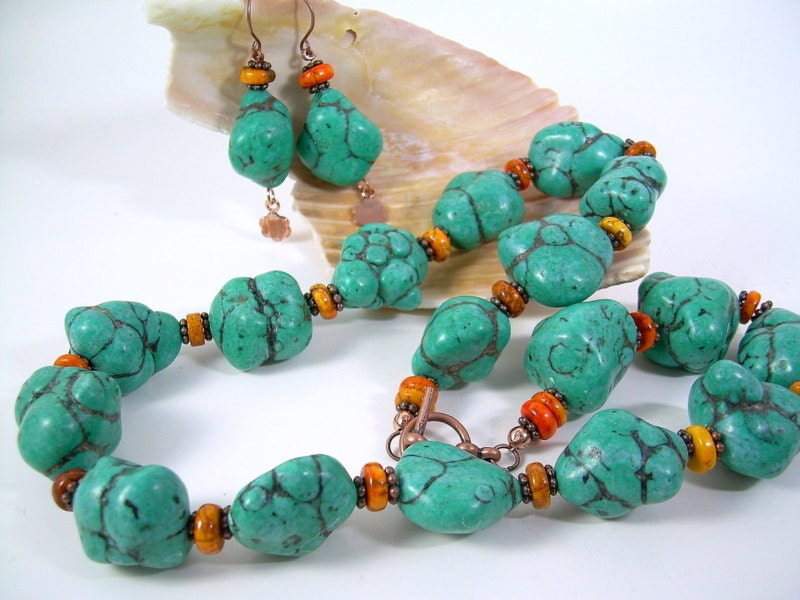 Indian Fall - Bold Turquoise Necklace Set