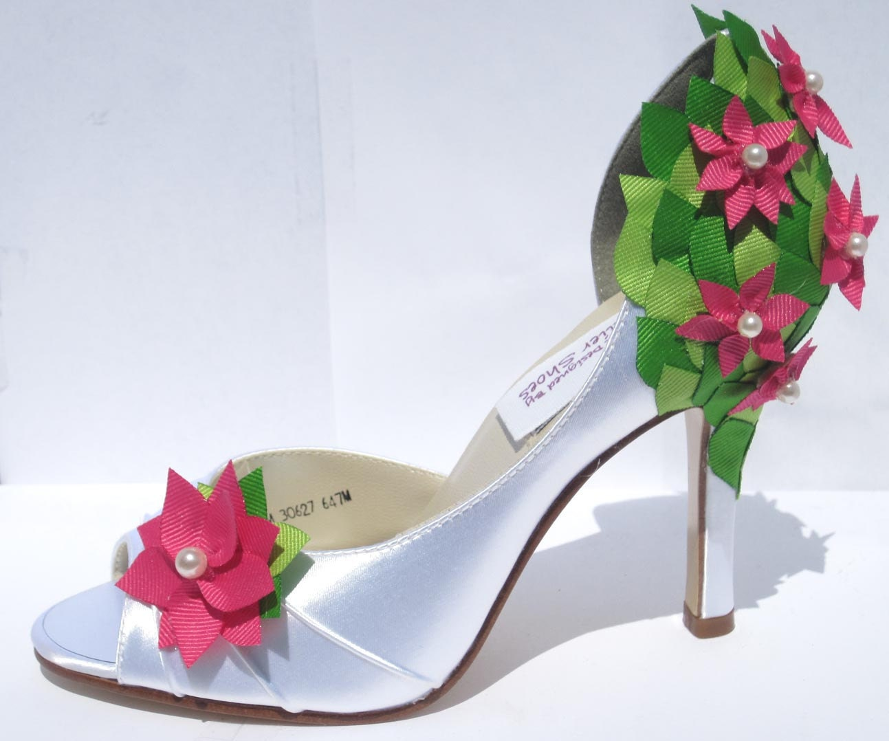 Stephanie D'Orsay Wedding Heel in White Satin with Pink Flower Adornments and Multi-Color Leaf Detail