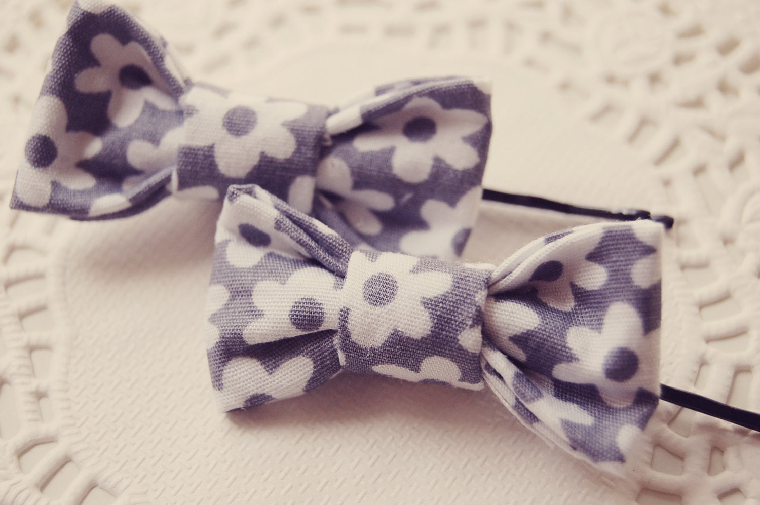 Two Mini Hair Bow Clips - charlotteandmoon