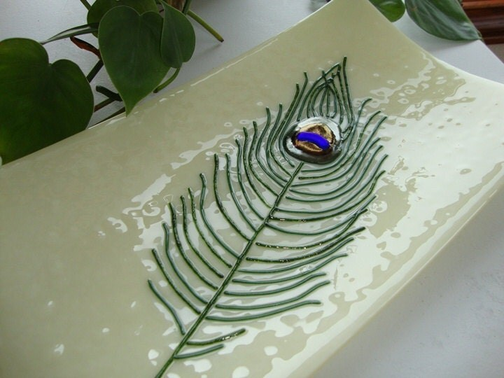 Wedding Gift Glass Painting : ... Glass Plate / Wedding Gift / Glass Plate Art / Slumped Glass Platter
