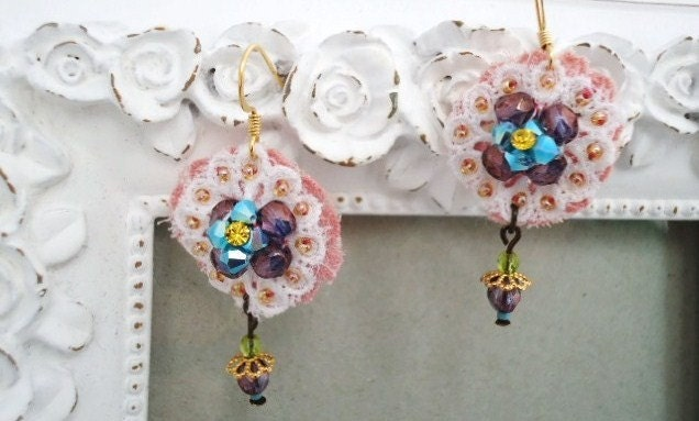 White rose lace earrings