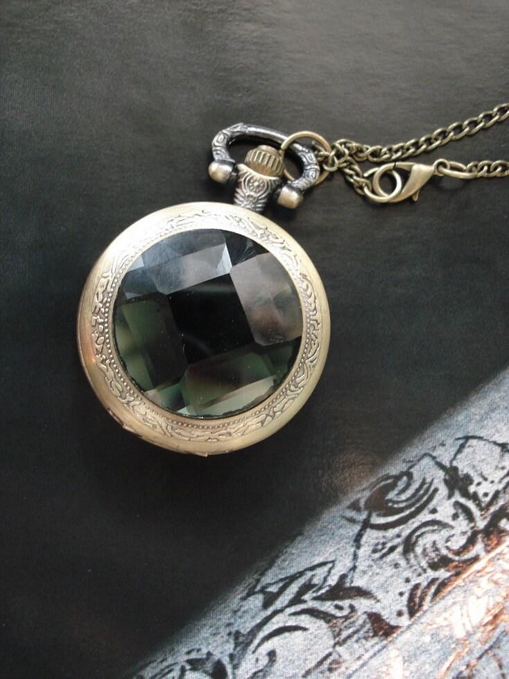 20% HOLIDAY SALE Necklace Pendant Dark Green bronze Pocket Watch quartz Gift Chain E220