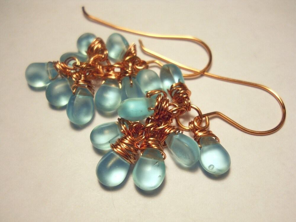 Drops of  Aqua Copper Cluster Earrings