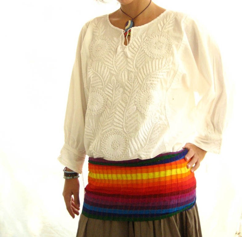 Mexican Embroidered Dress Boho Chic embroidered PURE WHITE Large