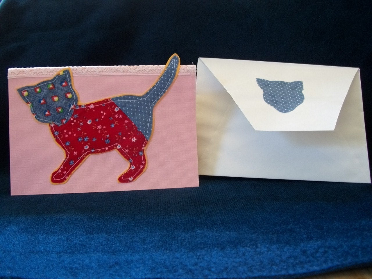 Greeting Card/ Cat Quilted Red