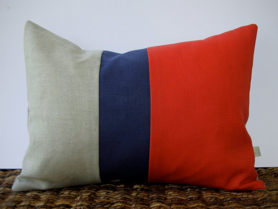 Color Block Stripe Pillow in Coral, Navy and Natural Linen by JillianReneDecor (12x16) Modern Home Decor - JillianReneDecor