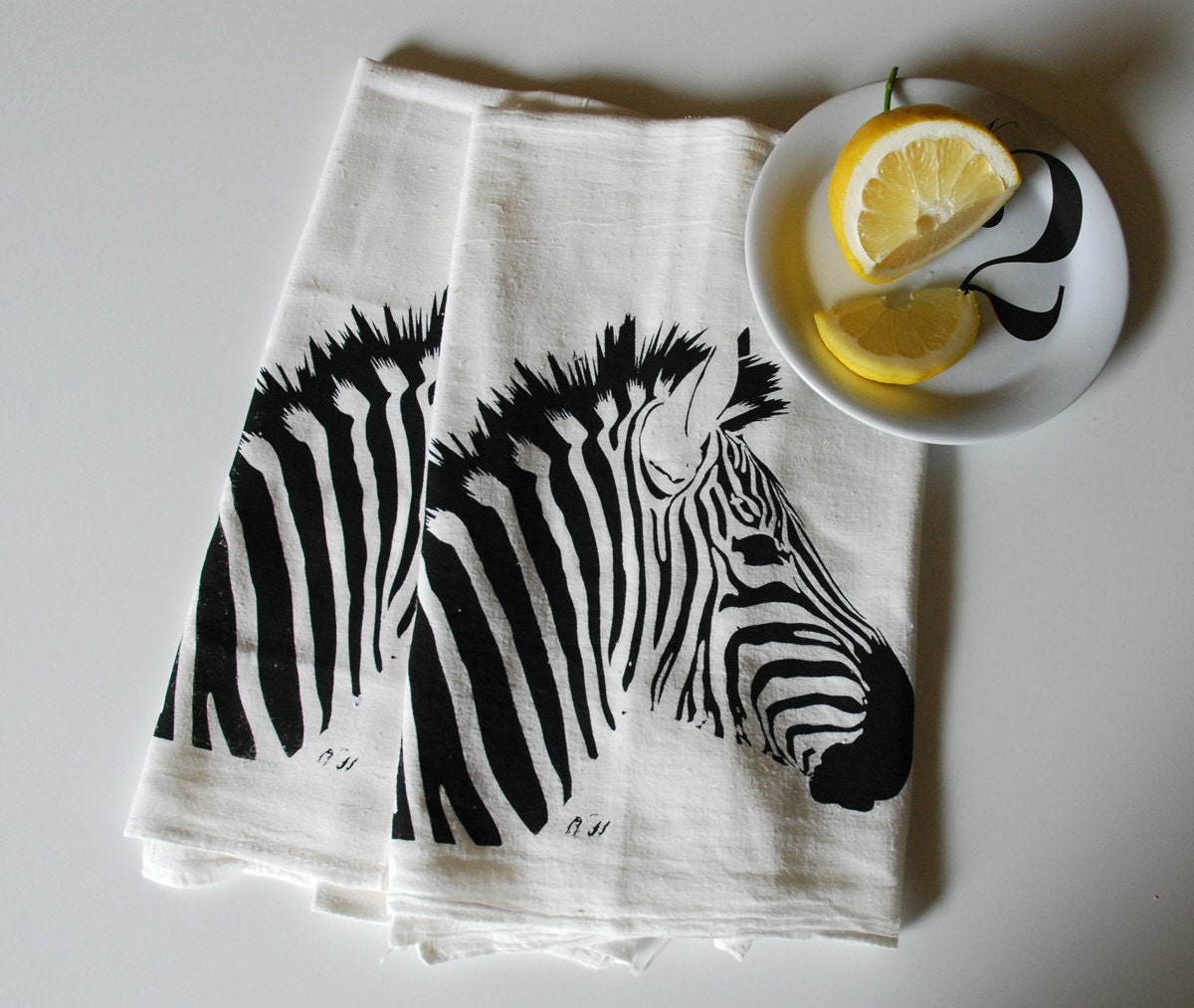 Zebra Hand Screen Printed Tea Towel Pair Black on White - branchhandmade