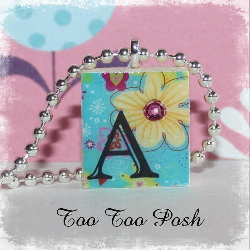 Custom Turquoise Flower Initial Letter Scrabble Tile Pendant Necklace