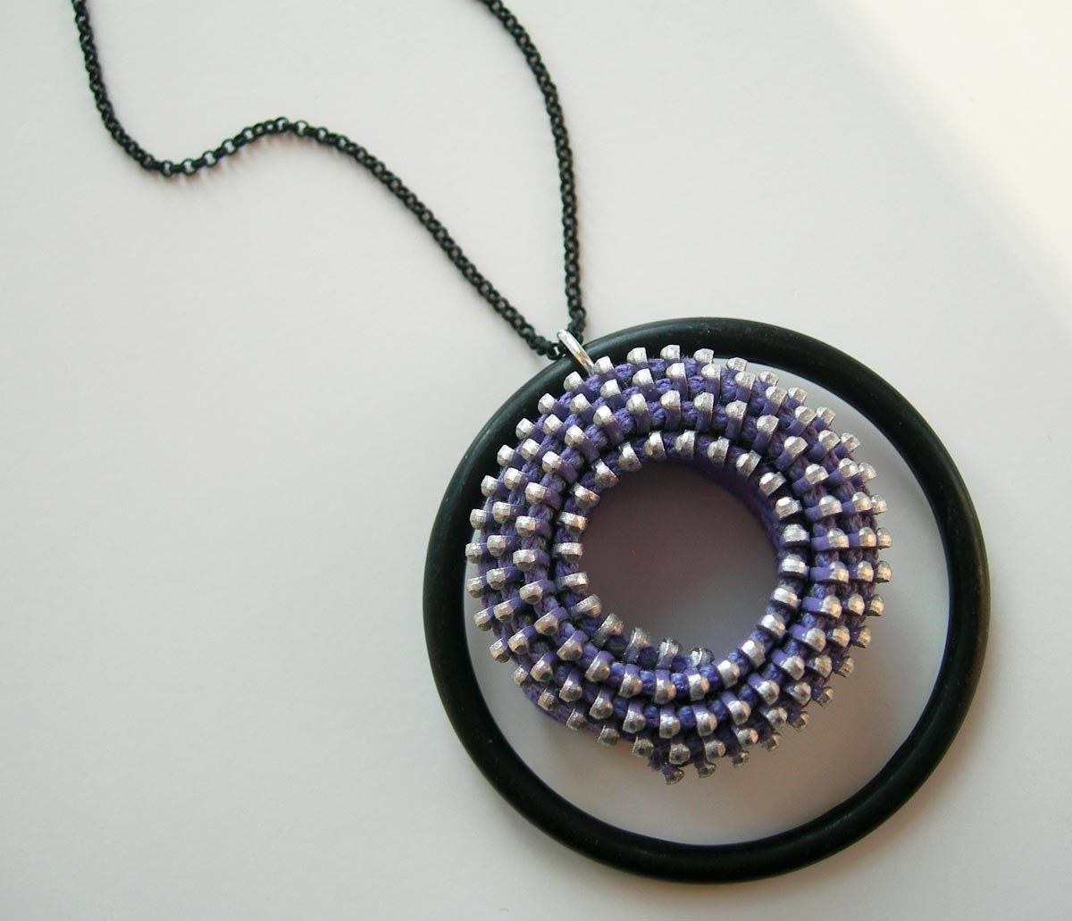 Lavender Vintage Zipper Tape Spiral Necklace with Matte Black Ring and Chain