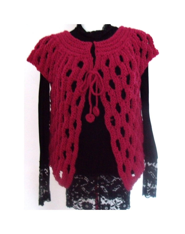 Pink Fuchsia vest shrug bolero wool bulky OOAK hand knitted 4 seasons - MyLaceSpace