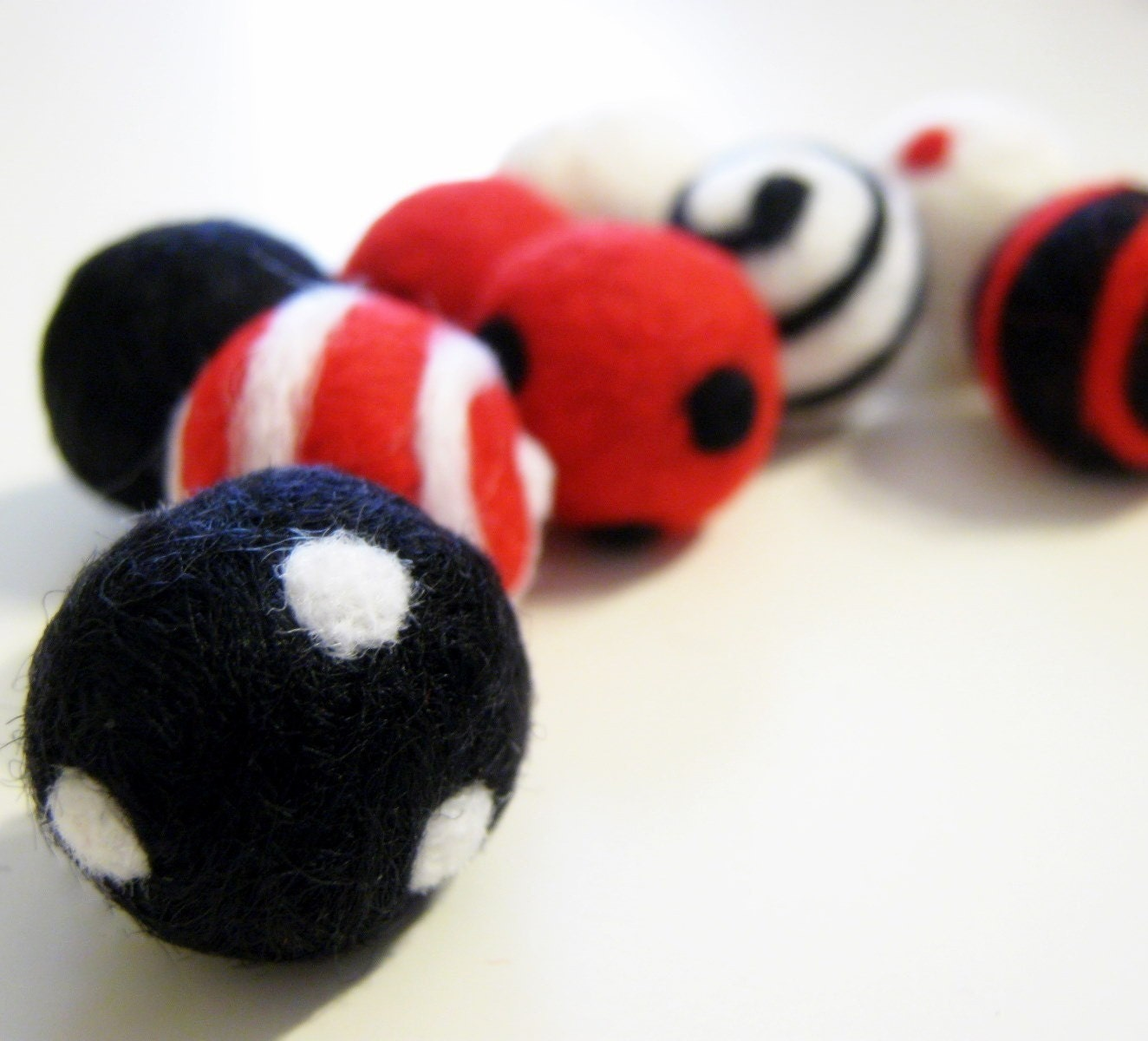 Black  White and Red Wool Felted Beads