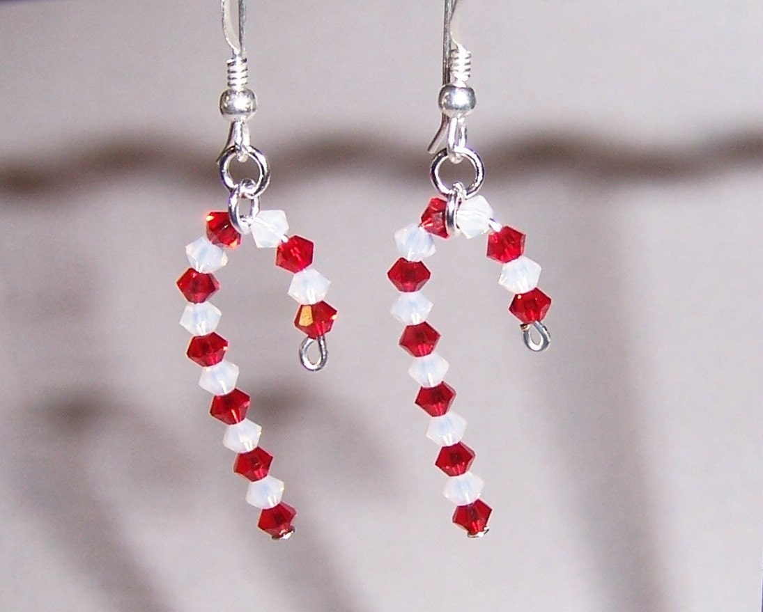 Christmas Candy Cane Earrings with Swarovski Crystal by Saralibbey: www.etsy.com/listing/7735438/christmas-candy-cane-earrings-with
