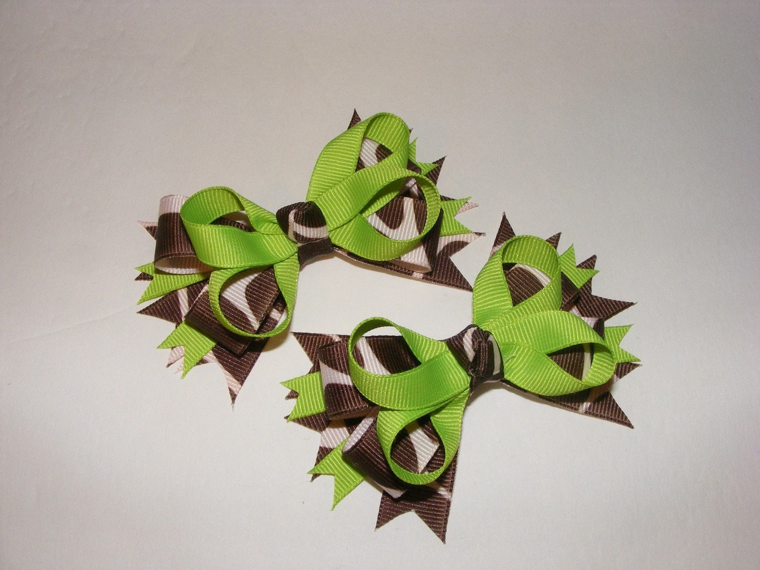 Set of 2 - Giraffe Animal Print Hair Bows- Brown and Lime Green