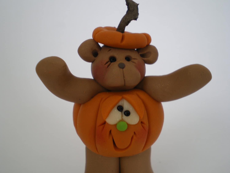 Halloween Pumpkin Bear  -Polymer Clay Jack o' Lantern Handmade by Helen's Clay Art - HelensClayArt