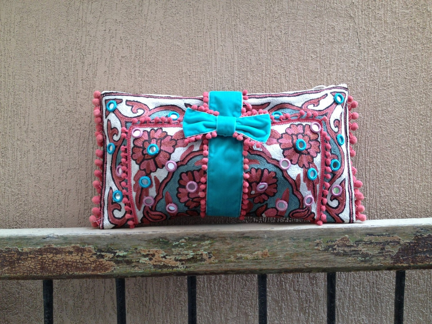 SILK pink and aqua kashmiri chainstich clutch bag