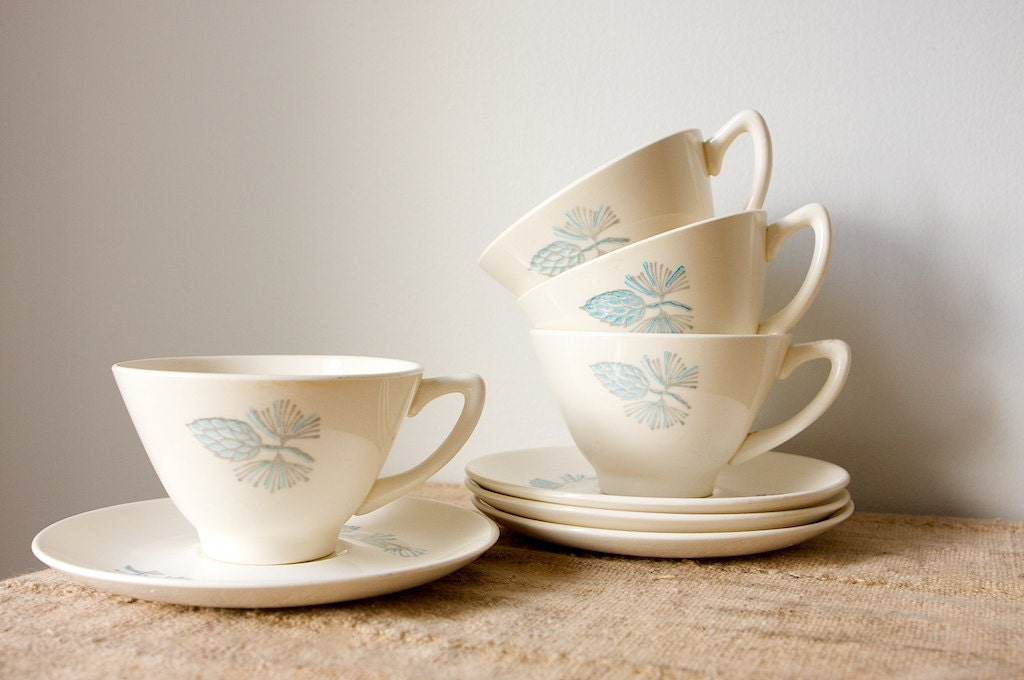 Vintage Mid Century Cups and Saucers-Marcrest Blue Spruce, Set of 6 - inmyigloo