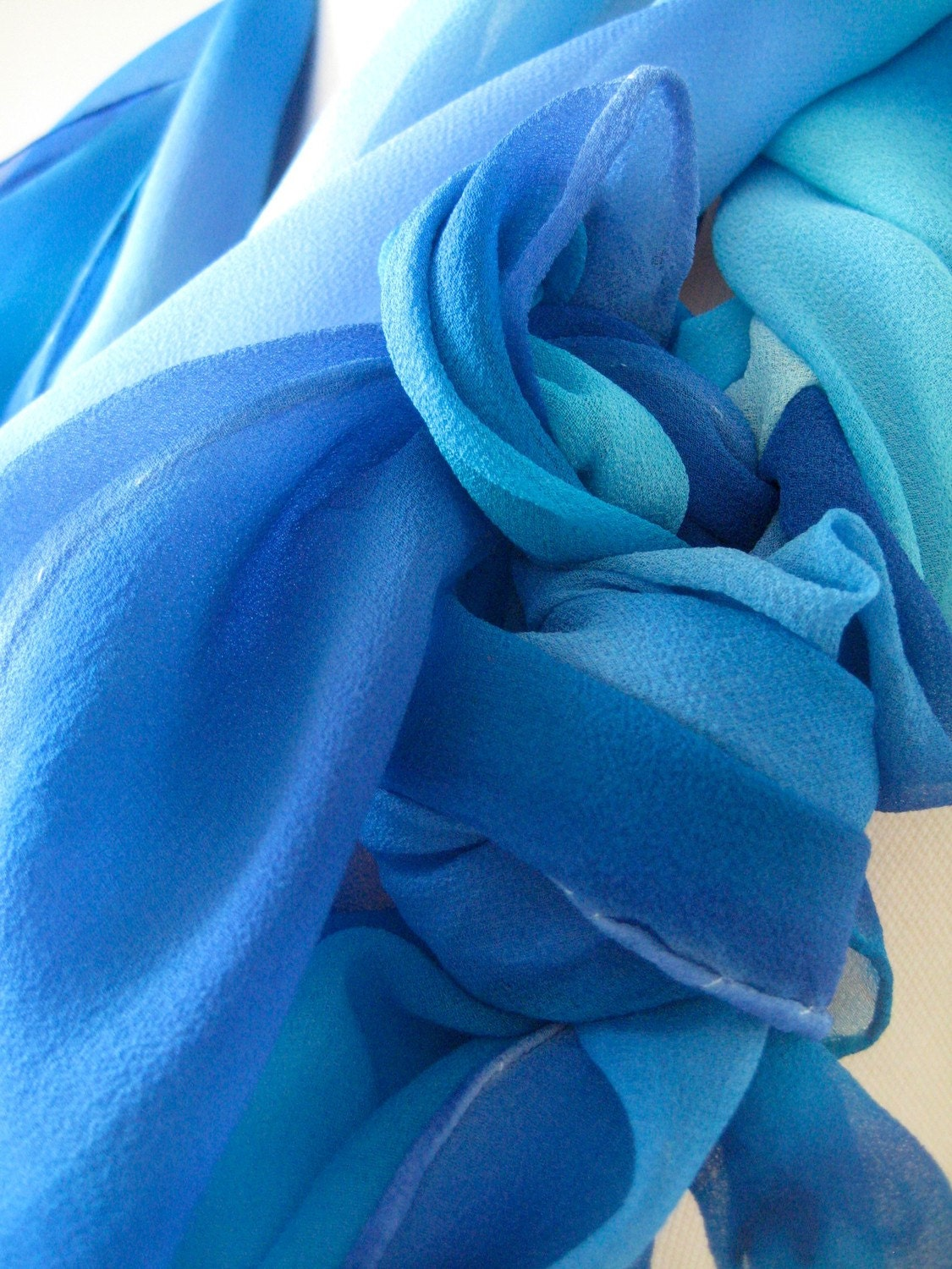To the Sea sheer hand painted ultra long silk chiffon scarf