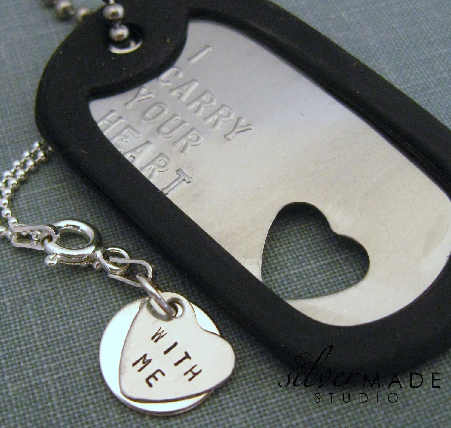 Military Stainless dogtag and sterling HEART CHARM - SilverMadeStudio