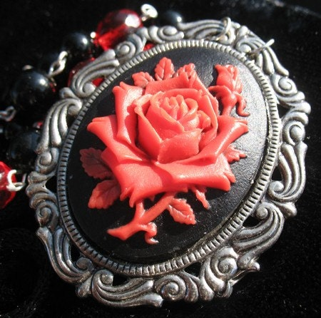 Victoriana Red Rose Cameo Necklace by StarrlightJewelry