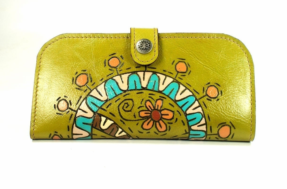 Wallet Leather - Lovely Lime Flower