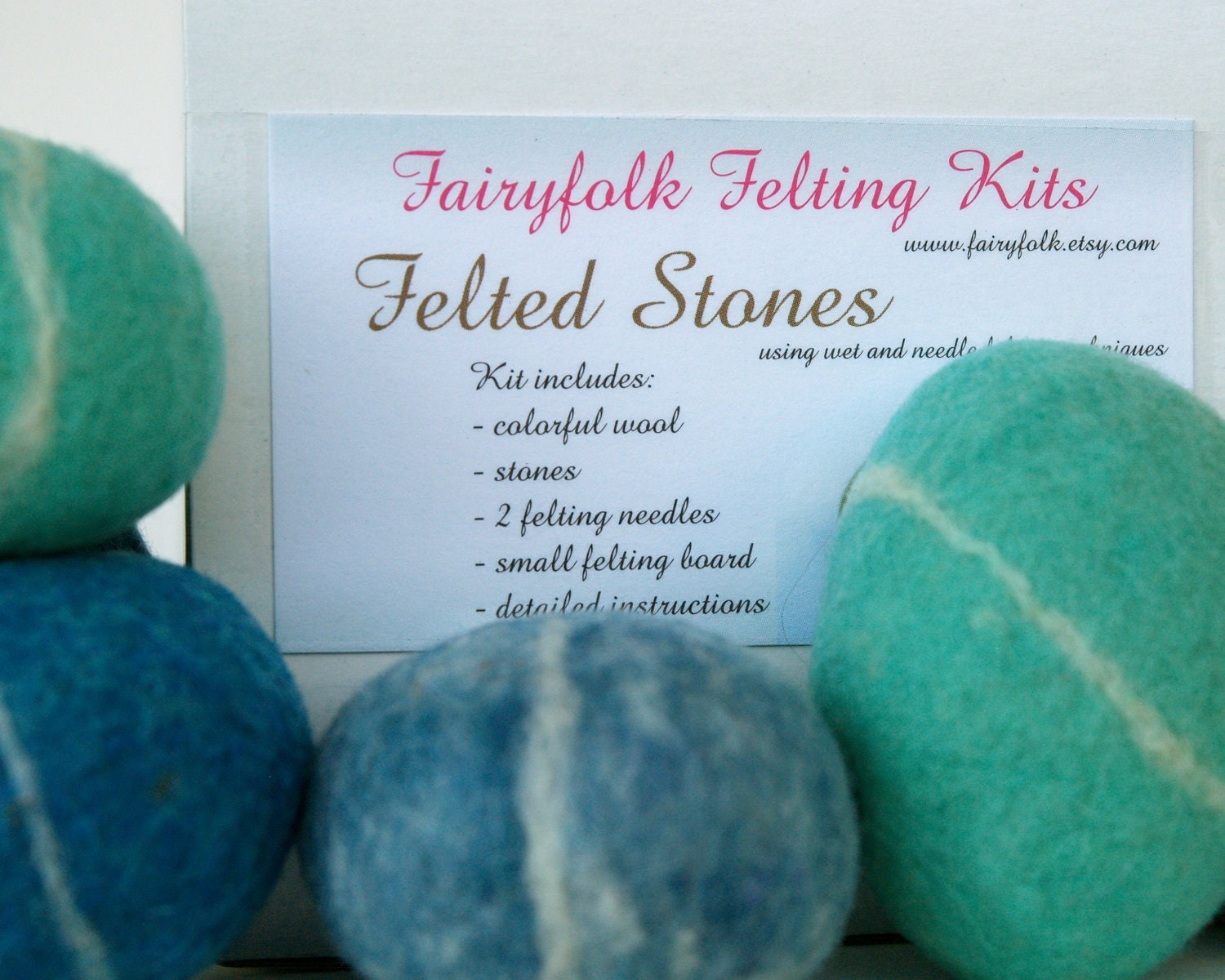 Felted Pebble Kit, Wool Felting Rocks Stone DIY Tutorial learn to New Hobby Crafting Craft Make your own Handmade Wet Beach Turquoise Blue