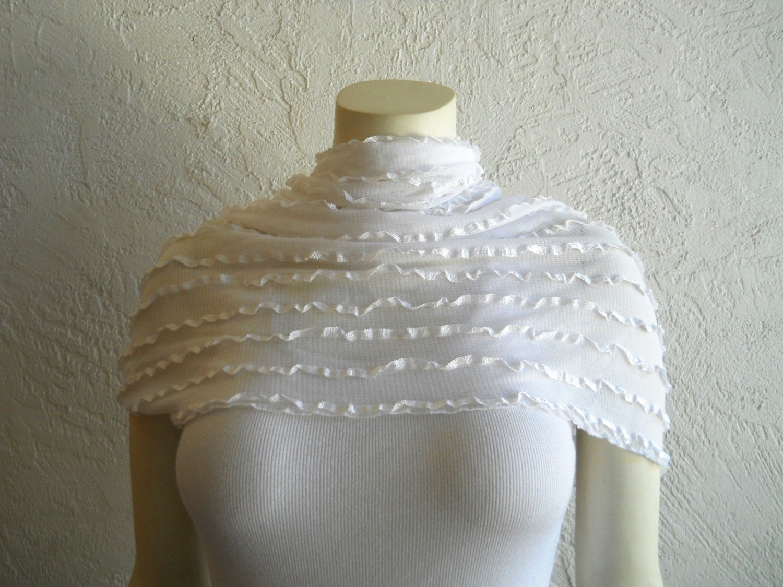 Titanium White Lace Ruffled Endless Infinity Scarf