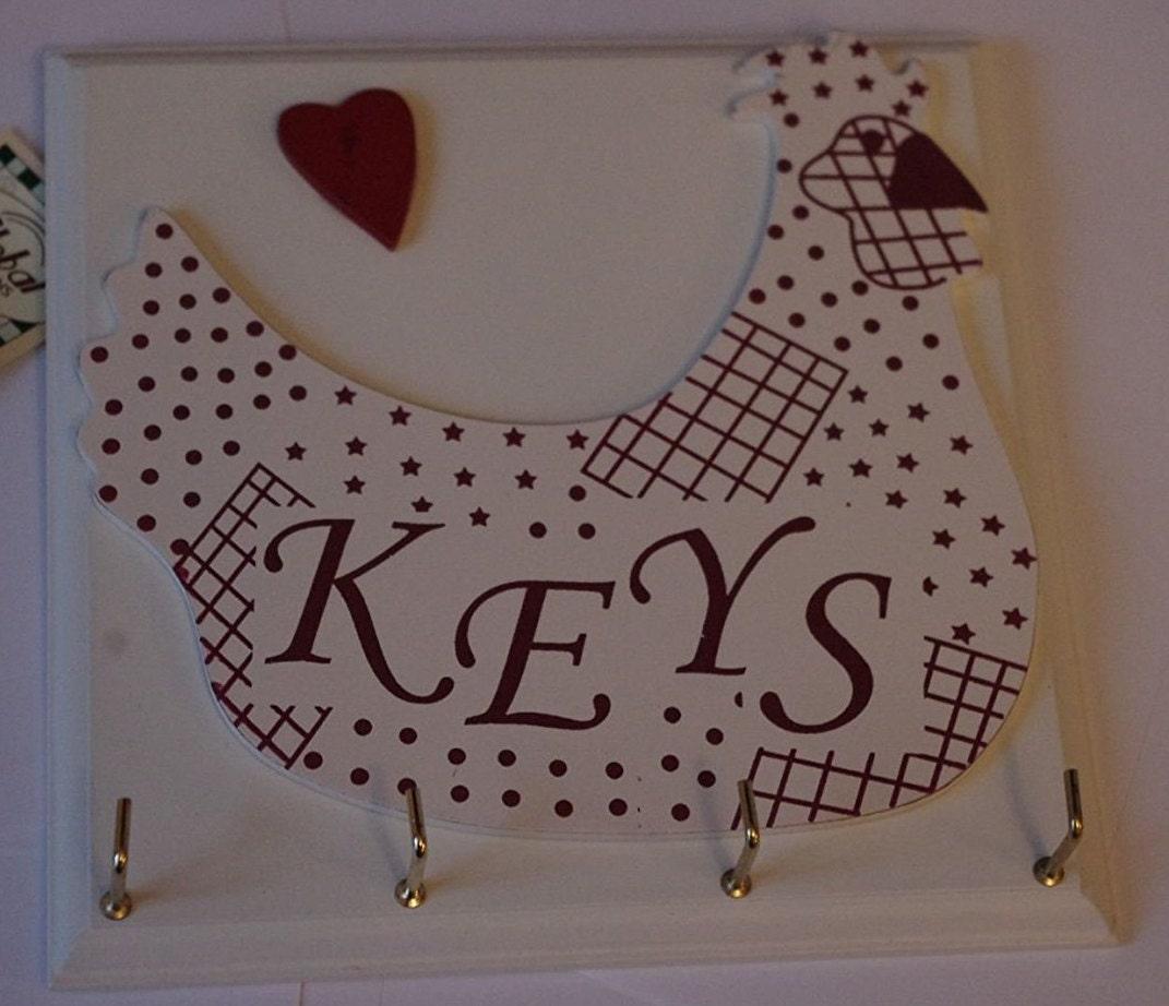 Wooden Wall Keys Key Rack Chicken Design Cream 4 Hooks F1163