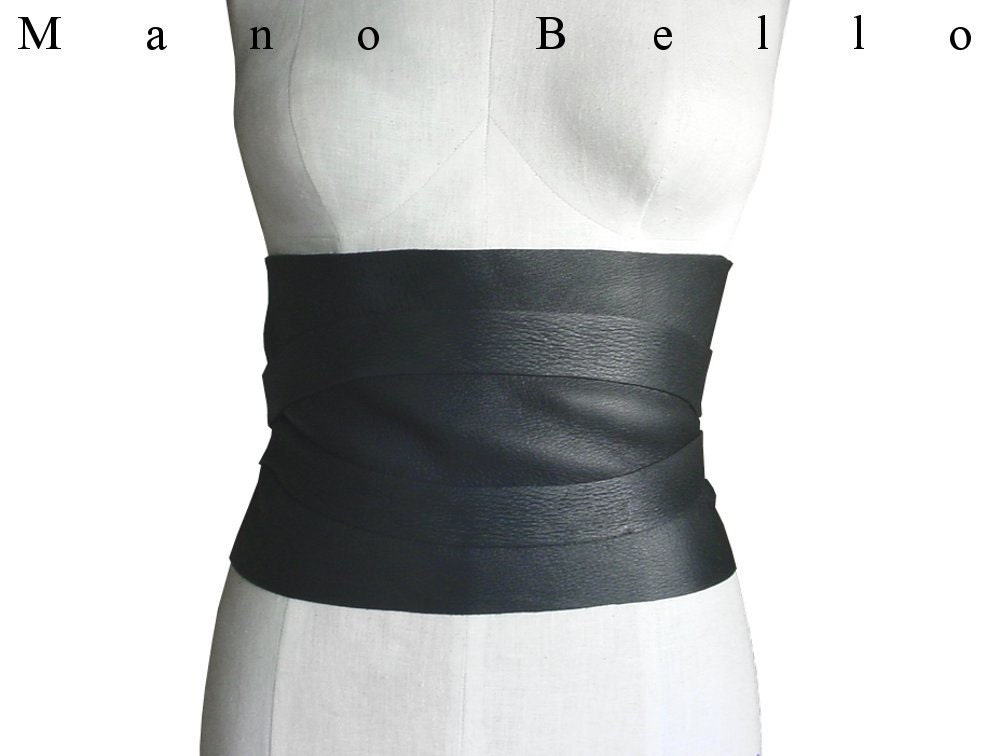 wide leather belt black brown or underbust corset by
